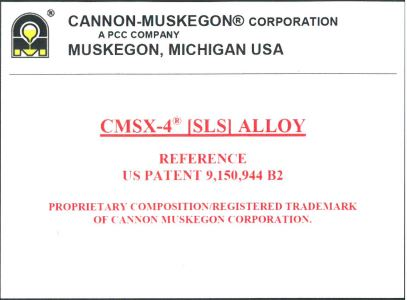 Click to view US Patent for CMSX-4 [SLS] Alloy